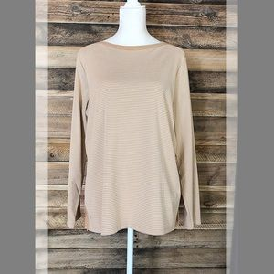 Ralph Lauren tan and white striped knit top
